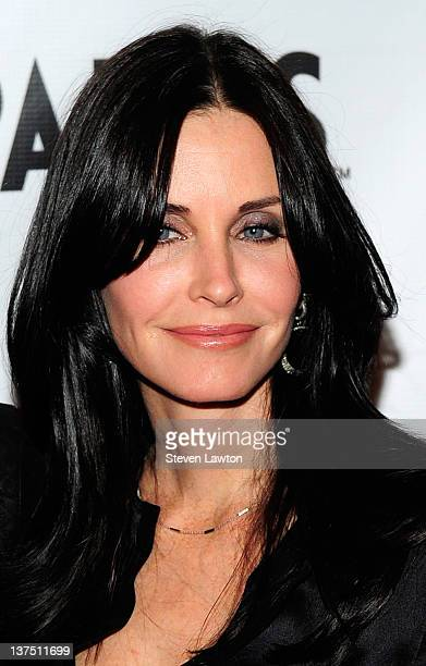 Actress Courteney Cox arrives for a viewing party with cast of Cougar Town at Moon nightclub at the Palms Casino Resort on January 21 2012 in Las...