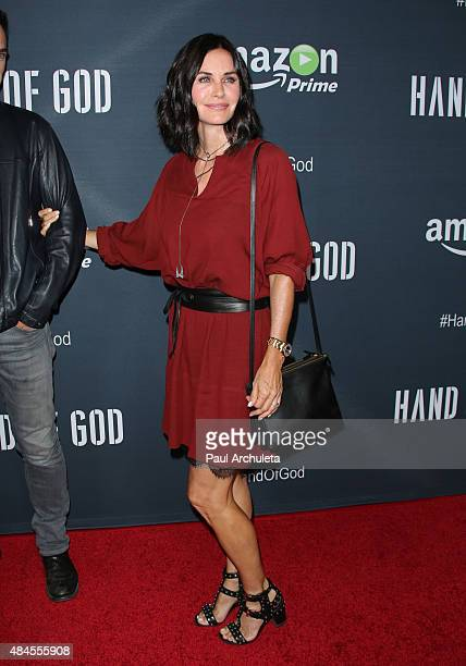 Actress Courteney Cox attends the premiere of Amazon's series 'Hand Of God' at Ace Theater Downtown LA on August 19 2015 in Los Angeles California
