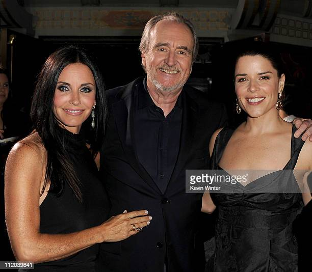 """Actress Courteney Cox, director Wes Craven, and actress Neve Campbell arrive at the premiere of The Weinstein Company's """"Scream 4"""" Presented by AXE..."""
