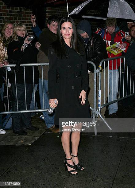 Actress Courteney Cox visits 'The Late Show with David Letterman' at Ed Sullivan Theatre on February 26 2008 in New York City
