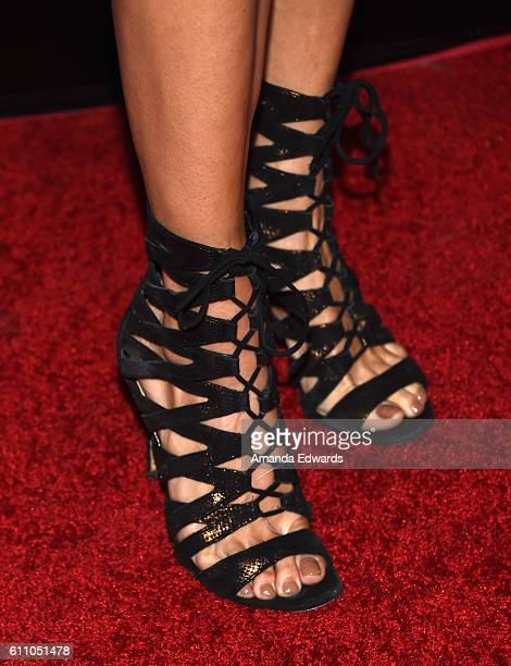Actress Courtney B Turk shoe detail arrives at the premiere of IMAX's Voyage Of Time The IMAX Experience at the California Science Center on...