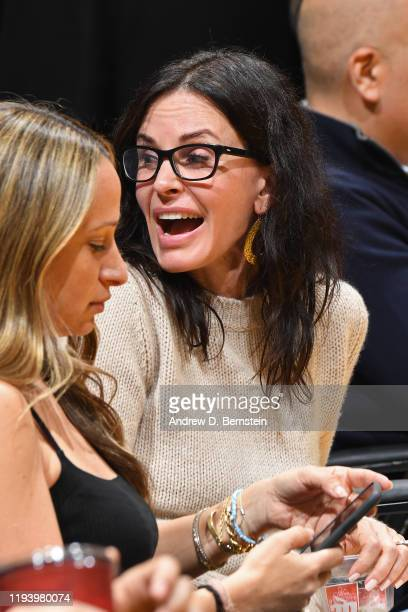 Actress Courtney Cox attends the game between the Los Angeles Lakers and the Cleveland Cavaliers on January 13 2020 at STAPLES Center in Los Angeles...