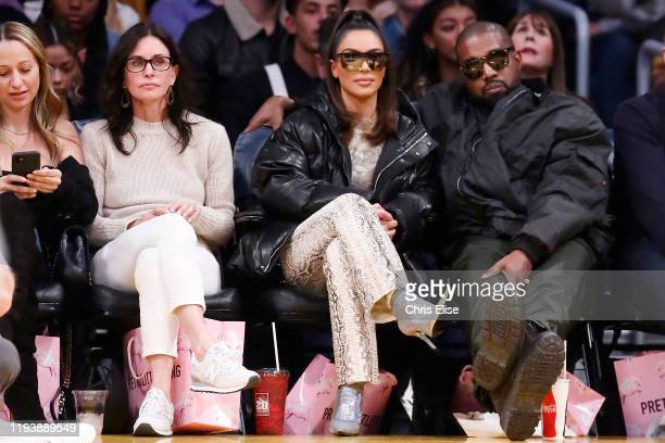 Actress Courtney Cox Kim Kardashian and Rapper Kanye West attend the Cleveland Cavaliers game against the Los Angeles Lakers on January 13 2020 at...