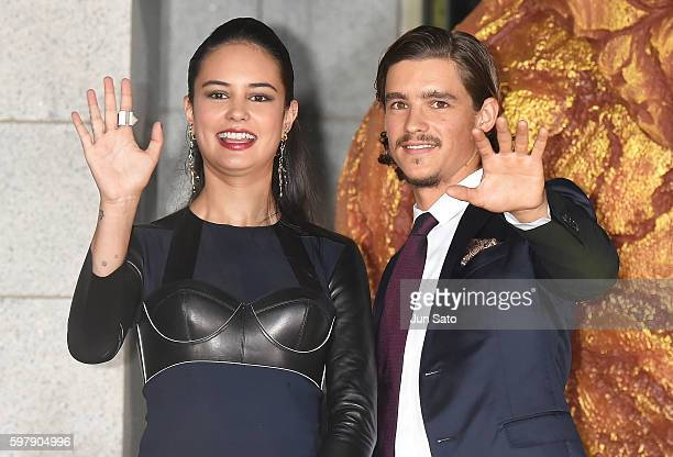Actress Courtney Eaton and actor Brenton Thwaites attend the premiere for Gods Of Egypt at Tokyo National Museum on August 30 2016 in Tokyo Japan