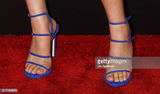 Actress Courtney Eaton shoe detail attends the 'Gods Of Egypt' New York premiere at AMC Loews Lincoln Square 13 on February 24 2016 in New York City