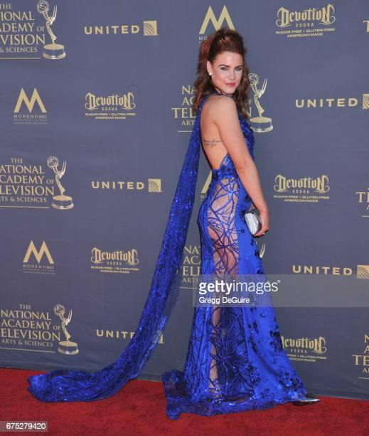 Actress Courtney Hope arrives at the 44th Annual Daytime Emmy Awards at Pasadena Civic Auditorium on April 30 2017 in Pasadena California