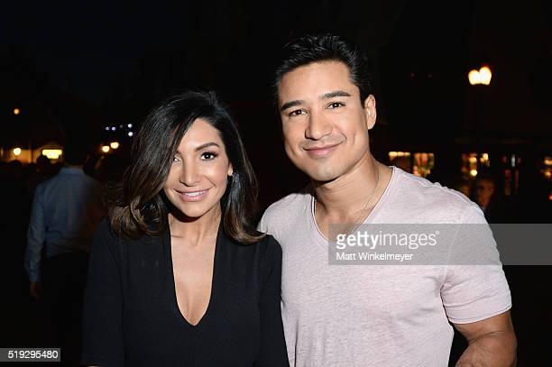 Actress Courtney Mazza and tv personality Mario Lopez attend Universal Studios' 'Wizarding World of Harry Potter Opening' at Universal Studios...
