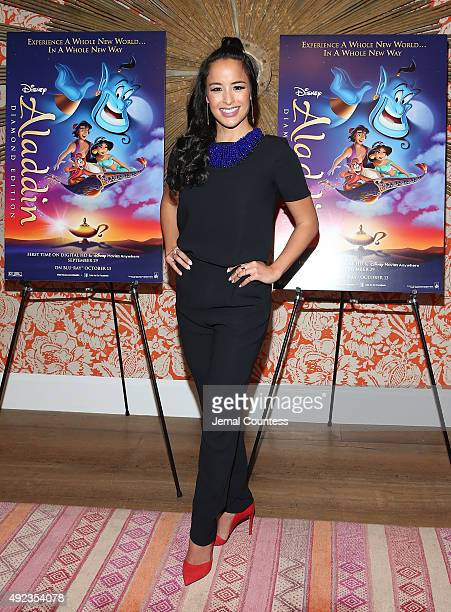 Actress Courtney Reed attends Disney's 'Aladdin' Broadway Press Day at the Crosby Street Hotel on October 12 2015 in New York City