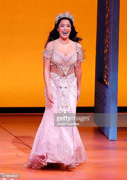 Actress Courtney Reed takes a bow during curtain call at the the 'Aladdin' On Broadway Opening Night at New Amsterdam Theatre on March 20 2014 in New...