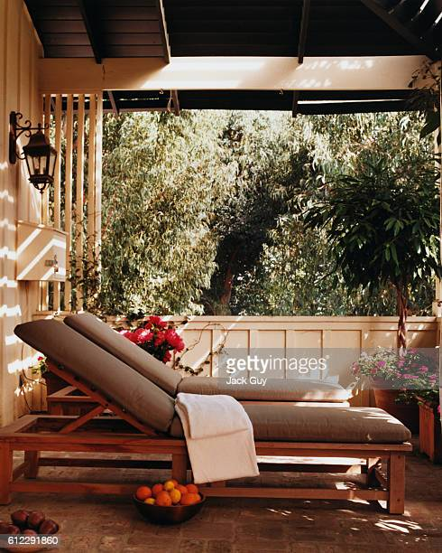 Actress Courtney Thorne-Smith's home is photographed for InStyle in 2002 in Los Angeles, California. Thorne-Smith's patio.