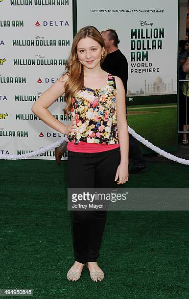 Actress Cozi Zuehlsdorff arrives at the Los Angeles premiere of 'Million Dollar Arm' at the El Capitan Theatre on May 6 2014 in Hollywood California