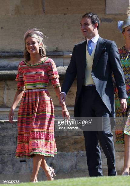 Actress Cressida Bonas arrives at the wedding of Prince Harry to Ms Meghan Markle at St George's Chapel Windsor Castle on May 19 2018 in Windsor...