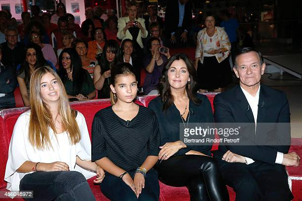 Actress Cristana Reali main guest of the show actor Francis Huster with their daughters Elisa and Toscane attend the 'Vivement Dimanche' French TV...