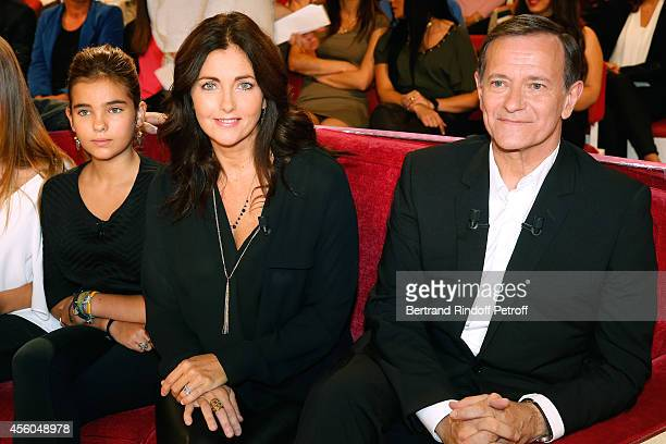 Actress Cristana Reali main guest of the show actor Francis Huster with their daughter Toscane attend the 'Vivement Dimanche' French TV Show at...