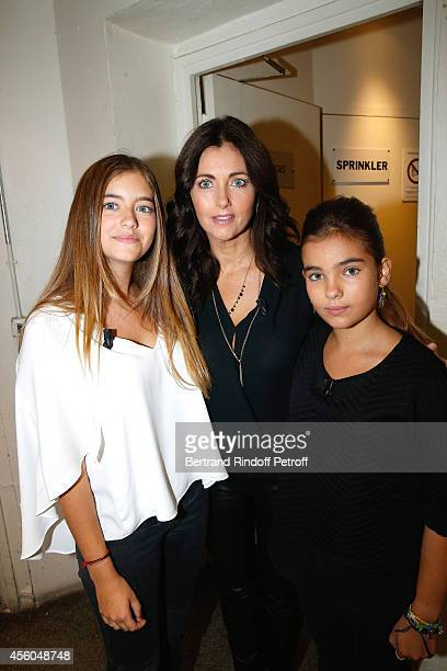 Actress Cristana Reali standing between her and Francis Huster's daughters Elisa and Toscane attend the 'Vivement Dimanche' French TV Show at...