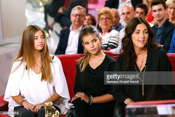 Actress Cristana Reali with her and Francis Huster's daughters Elisa and Toscane attend the 'Vivement Dimanche' French TV Show at Pavillon Gabriel on...