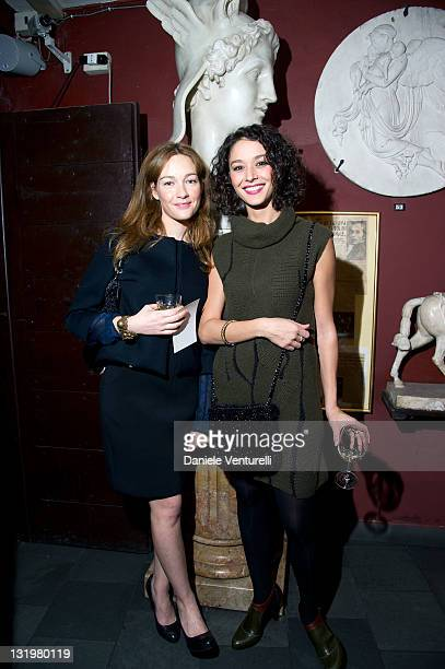 Actress Cristiana Capotondi and actress Nicole Grimaudo attends the Anteprima fagship store opening In Rome on November 9 2011 in Rome Italy