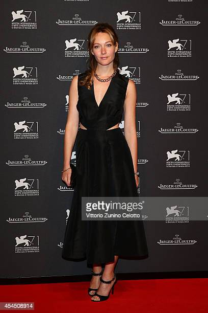 Actress Cristiana Capotondi arrives wearing a JaegerLeCoultre watch for a gala dinner hosted by JaegerLeCoultre at Scuola Grande di San Rocco during...