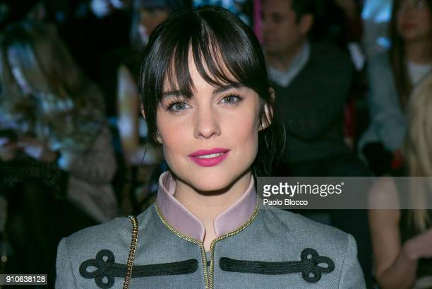Actress Cristina Abad attends the front row of Devota Lomba show during Mercedes Benz Fashion Week Madrid Autumn / Winter 2018 at Ifema on January 26...