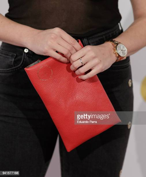 Actress Cristina Abad handbag detail attends the 'Campeones' premiere at Kinepolis cinema on April 3 2018 in Madrid Spain