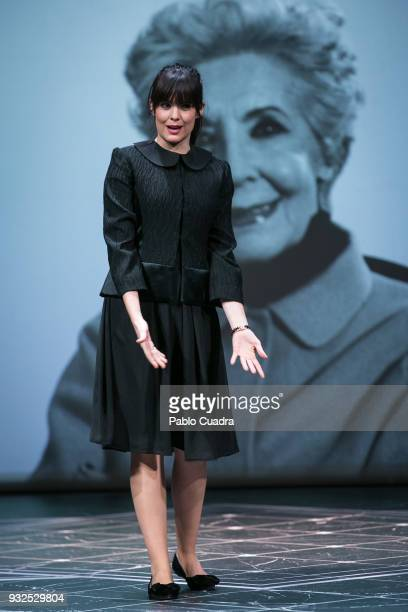 Actress Cristina Abad performs on stage during the 'El Funeral' at 'Teatro Calderon' on March 15 2018 in Valladolid Spain