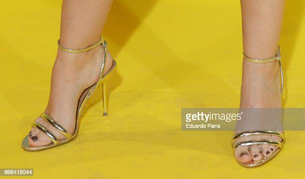 Actress Cristina Abad shoes detail attends the 'La Zona' premiere at Capitol cinema on October 25 2017 in Madrid Spain