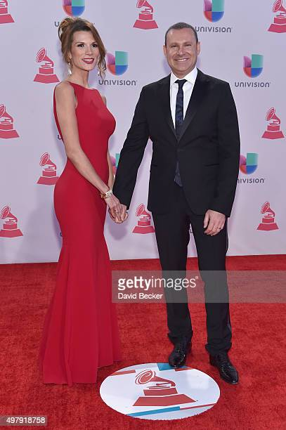 Actress Cristina Bernal and TV personality Alan Tacher attend the 16th Latin GRAMMY Awards at the MGM Grand Garden Arena on November 19 2015 in Las...