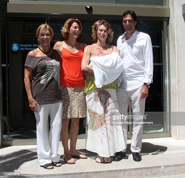 Actress Cristina Piaget presents her newborn baby Paul David with his brother David her sister and her mother at Nuestra Senora del Rosario Hospital...