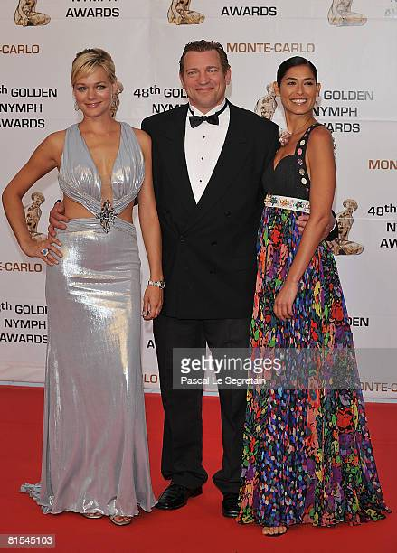 Actress Crystal Allen actor Dimitri Diatchenko and actress Eleni Tzimas attend the Golden Nymph awards ceremony during the 2008 Monte Carlo...