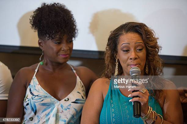 Actress Crystal Fox and actress Patrice Lovely attend the press reception with Tyler Perry's 'The Haves The Have Nots' 'Love Thy Neighbor' at...