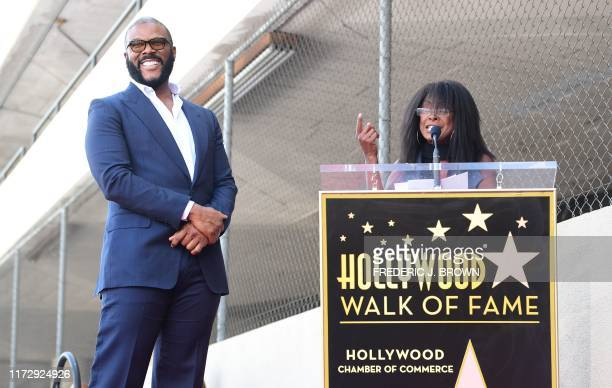 Actress Crystal Fox speaks during the ceremony to honor actor and director Tyler Perry with a Star on the Hollywood Walk of Fame Star on October 1...