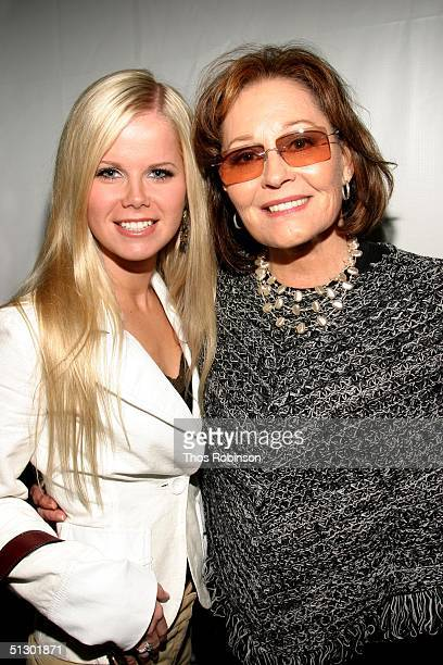 Actress Crystal Hunt and actress Marj Dusay pose front row at the Pamella Roland show during Olympus Fashion Week Spring 2005 in Bryant Park...