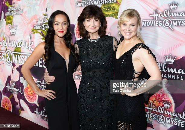 Actress Crystal Lowe producer Martha Williamson and actress Kristin Booth attend Hallmark Channel and Hallmark Movies and Mysteries Winter 2018 TCA...