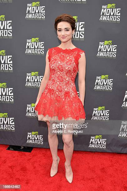 Actress Crystal Reed arrives at the 2013 MTV Movie Awards at Sony Pictures Studios on April 14 2013 in Culver City California