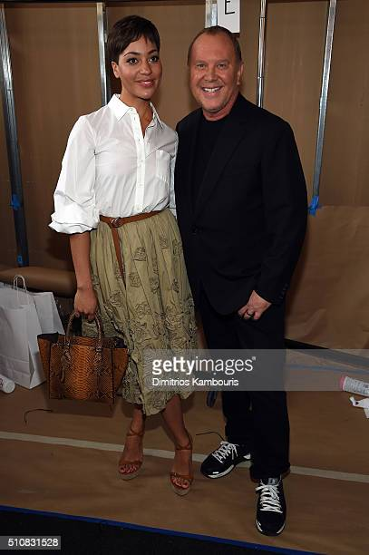 Actress Cush Jumbo and designer Michael Kors pose backstage at the Michael Kors Fall 2016 Runway Show during New York Fashion Week The Shows at...