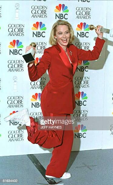Actress Cybill Shepherd dances with her Golden Globe Awards 21 January in Beverly Hills Shepherd won the award for Best Actress in a Comedy TV Series...