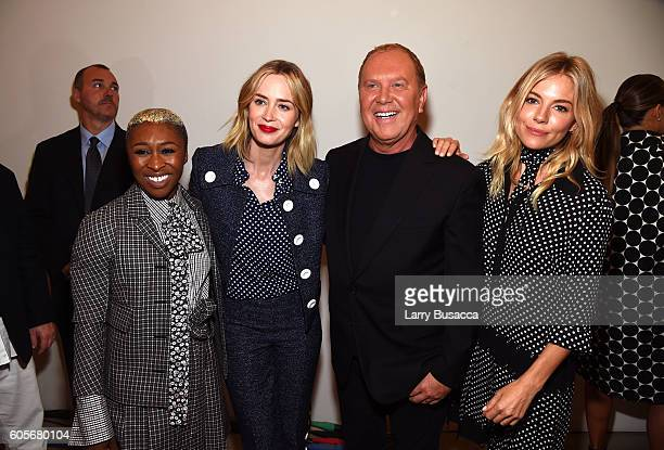 Actress Cynthia Erivo actress Emily Blunt fashion designer Michael Kors and actress Sienna Miller backstage at the Michael Kors Spring 2017 Runway...