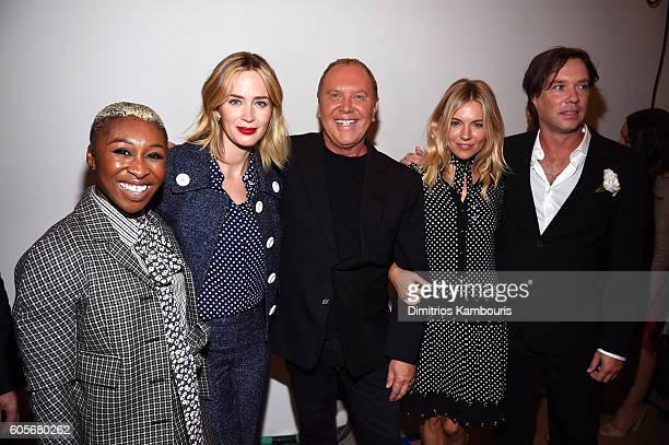 Actress Cynthia Erivo actress Emily Blunt fashion designer Michael Kors actress Sienna Miller and Musician Rufus Wainwright backstage at the Michael...
