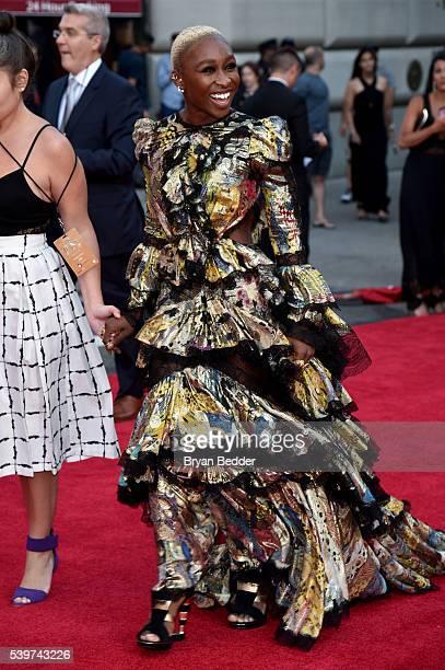 Actress Cynthia Erivo arrives at FIJI Water at 2016 Tony Awards at The Beacon Theatre on June 12 2016 in New York City