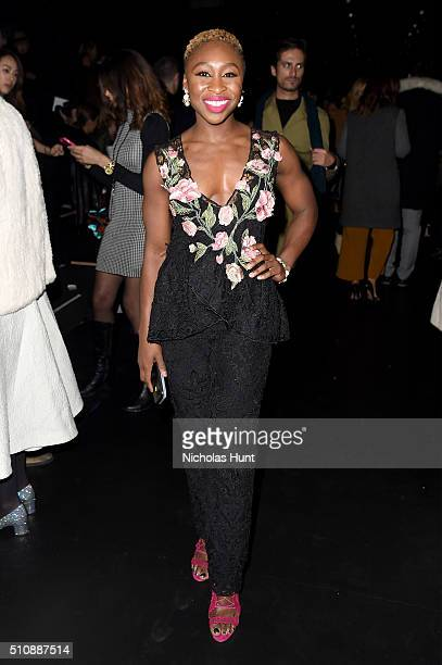 Actress Cynthia Erivo attends the Marchesa Fall 2016 fashion show during New York Fashion Week The Shows at The Dock Skylight at Moynihan Station on...