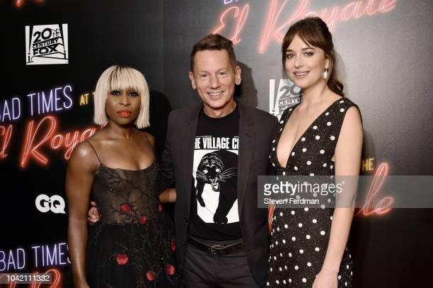 R Actress Cynthia Erivo editorinchief of GQ Magazine Jim Nelson and actress Dakota Johnson attend at Bad Times At The El Royale New York Screening at...