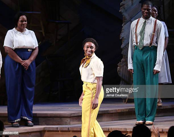 Actress Cynthia Erivo takes a bow during curtain call following her debut performance in Broadway's The Color Purple at The Bernard B Jacobs Theatre...