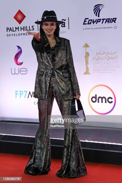Actress Cynthia Khalifa poses on the red carpet during the closing ceremony of the 42nd Cairo International Film Festival Cairo , Egypt on December...