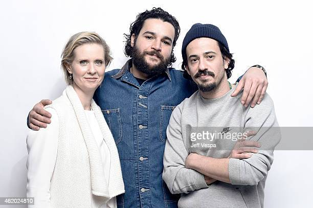 Actress Cynthia Nixon actor Christopher Abbott and filmmaker Josh Mond from 'James White' pose for a portrait at the Village at the Lift Presented by...