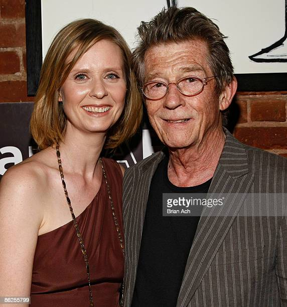 """Actress Cynthia Nixon and actor John Hurt attend the 8th Annual Tribeca Film Festival - """"An Englishman In New York"""" Reception benefitting AmFar at..."""