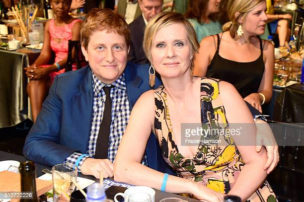 Actress Cynthia Nixon and Christine Marinoni attend the 2016 Film Independent Spirit Awards on February 27 2016 in Santa Monica California