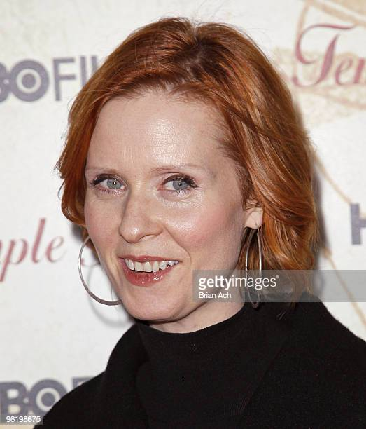Actress Cynthia Nixon attends the Temple Grandin New York premiere at the Time Warner Screening Room on January 26 2010 in New York City
