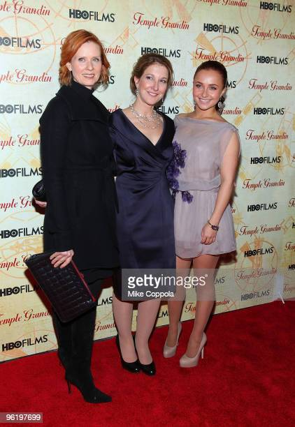 Actress Cynthia Nixon executive producer Emily Gerson Saines and actress Hayden Panettiere attend the premiere of Temple Grandin at the Time Warner...