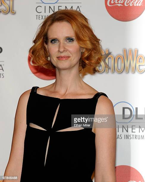Actress Cynthia Nixon one of the recipients of the Ensemble Award arrives at the ShoWest awards ceremony at the Paris Las Vegas during ShoWest the...