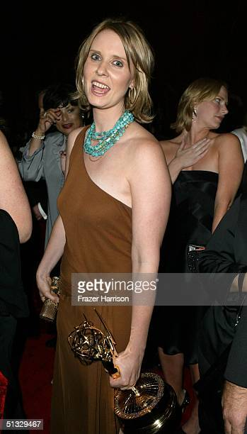 Actress Cynthia Nixon, poses at the HBO post Emmy party following the 56th annual Primetime Emmy Awards held at the Pacific Design Centre on...